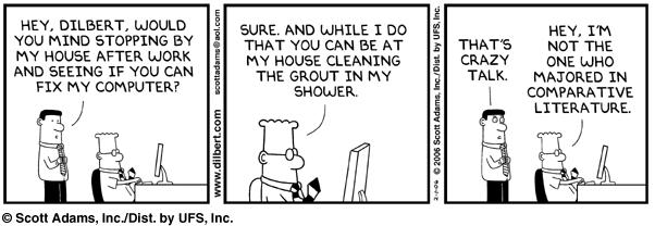 Dilbert on fixing computers.